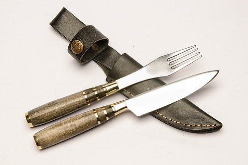 Knife and fork set with inlay wood handle. CUCH 46.