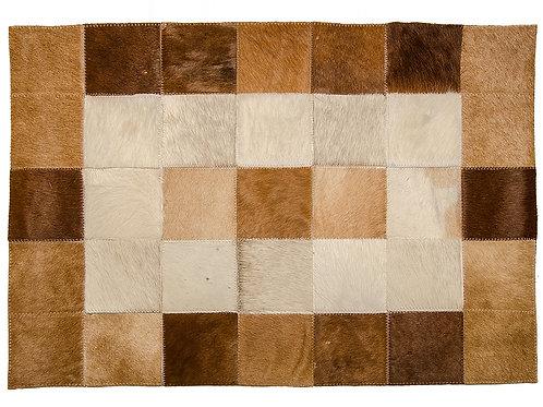BAJ 002B    Bajada de cama en cuero de vaca beige y marron