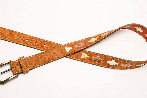 CIN 009  BELT H-D WITH SMALL ROMBO EMBROIDERY CONTINUOUS BEIGE COMBINATION