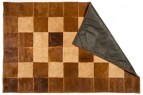 """Cowhide patchwork rug """"Beige and Brown"""". ALF 02."""