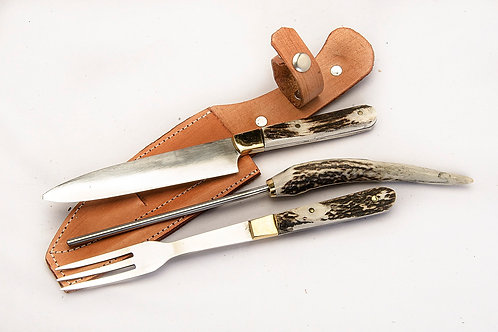 Knife, fork and honing steel set with stag horn handle. CUCH 44