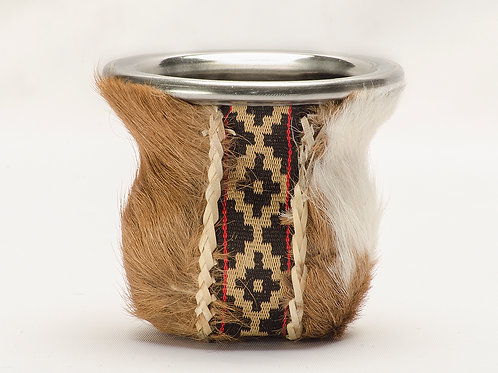 Glass mate gourd cowhide leather with base. MAT 06.