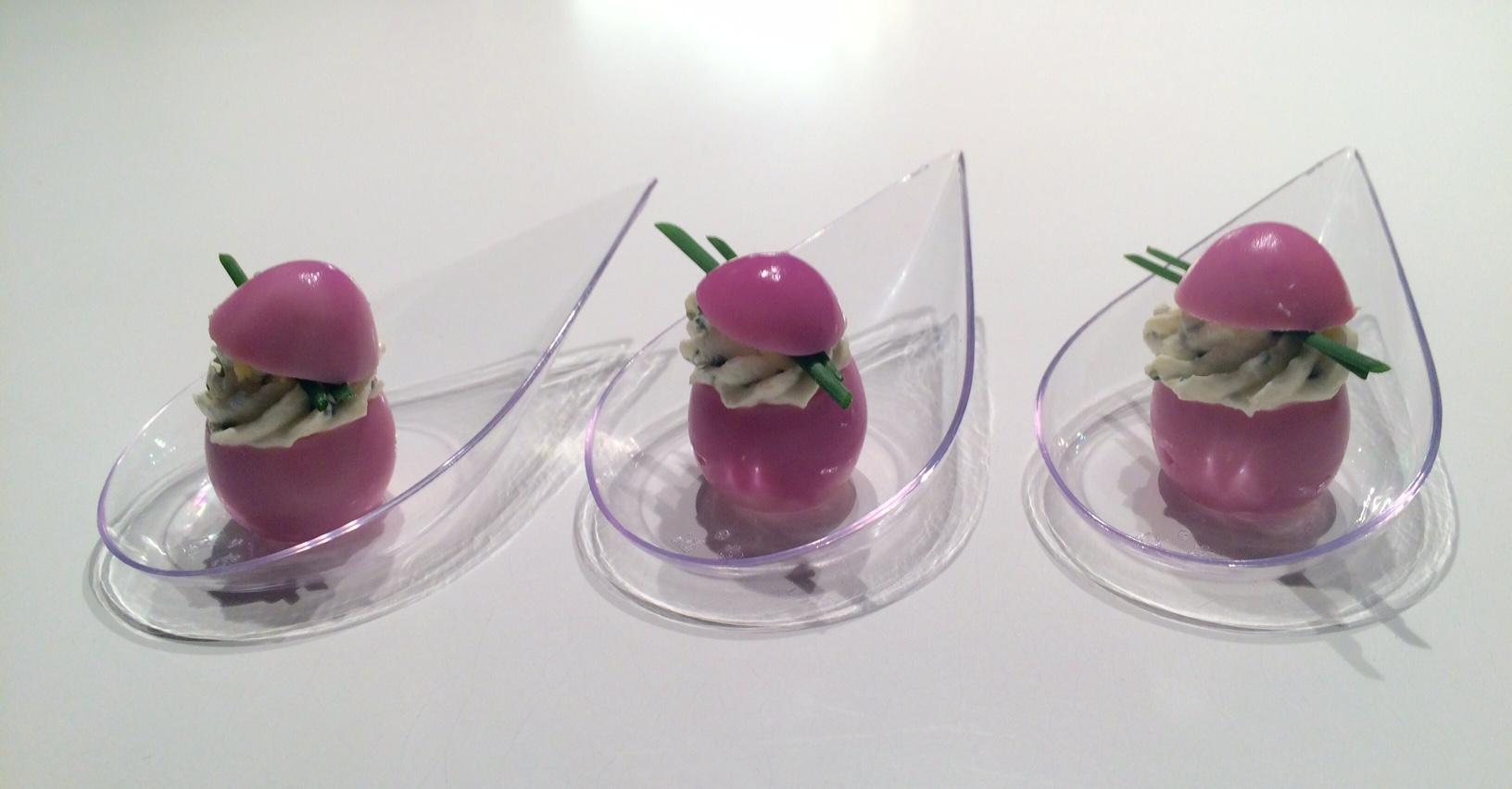 Oeufs de caille roses