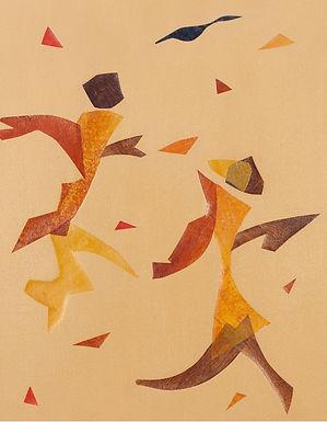 L'envol, peinture acrylique, collage, 2010