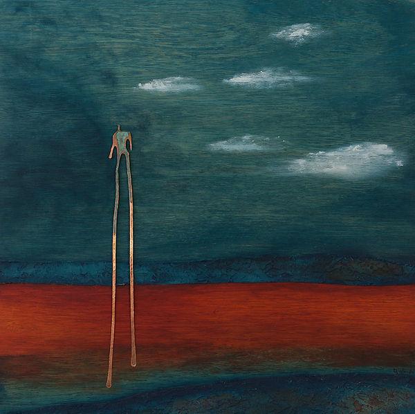 La tête dans les nuages, peinture acrylique, cuivre, 2010
