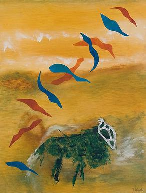 Bestiaire 2, peinture acrylique, métal, collage, 2010