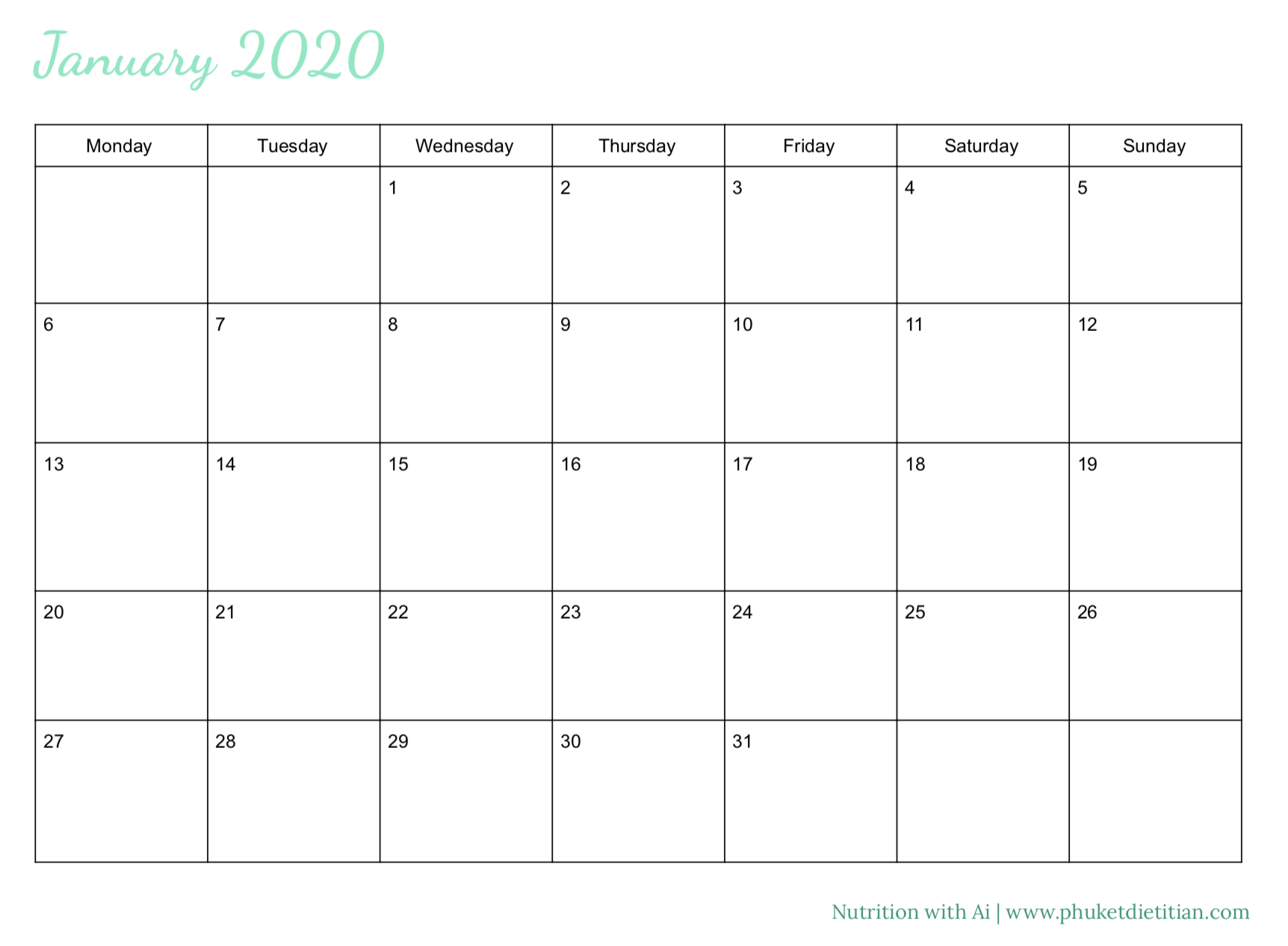 2020 calendar free download