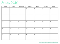 2020 calendar free download