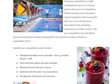 Top Nutrition Tips for swimming competitions