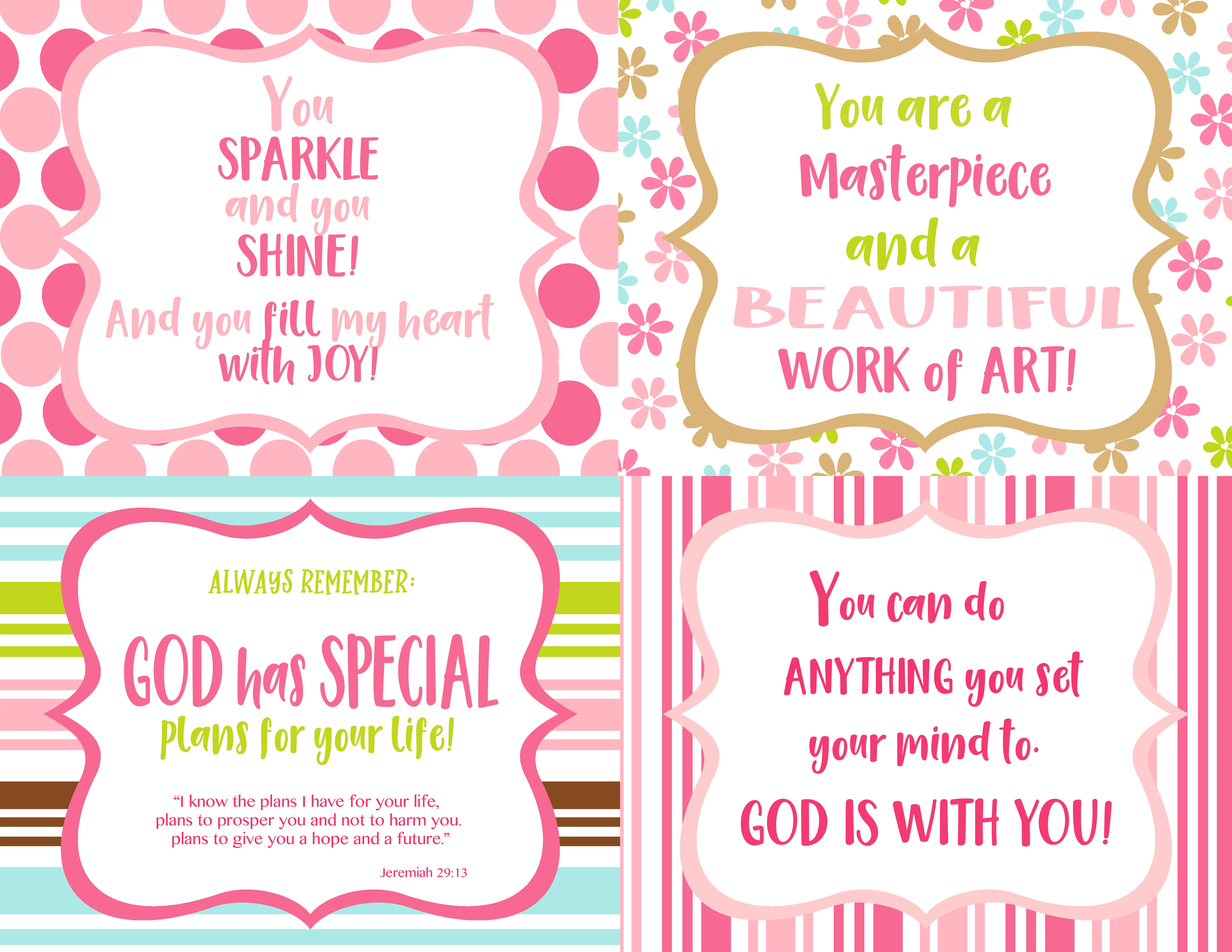 Aqua.Pink.Lime.girls.LunchboxNotes