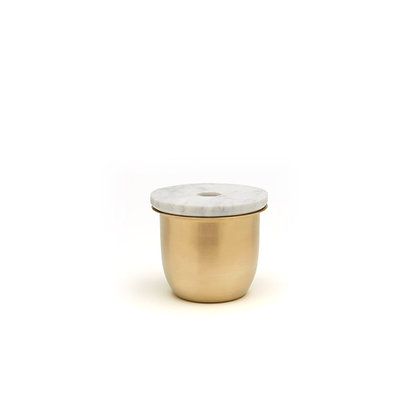 C3 | SMALL CONTAINER BRASS - MARBLE LID