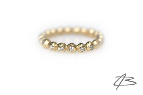 Bubbles & Diamonds ring i 14kt guld m. 5 x brill.