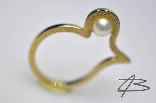 Kombineret Ring & vedhæng i 14Kt, Saltvandsperle
