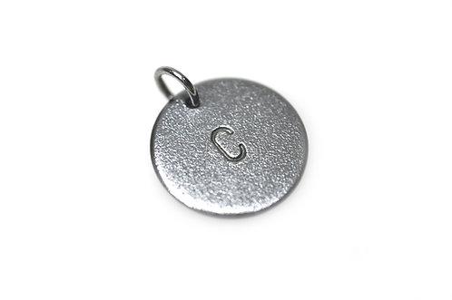 """""""Bubble Tag"""" Vedhæng oxyderet-sølv (4mm Bogstav)"""