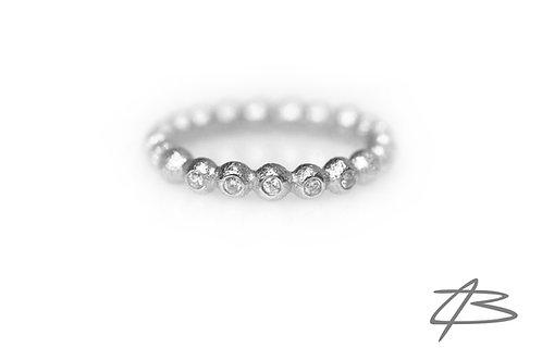 Bubbles & Diamonds, 14kt hvidguld m. 5 x brill.