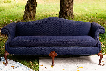Navy blue vintage couch rental NJ
