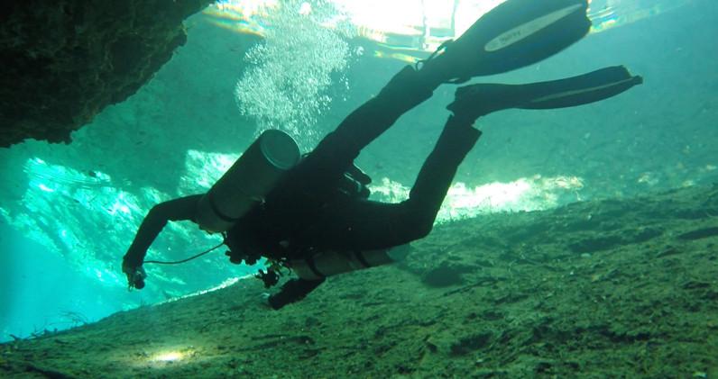 Diving Cenote DreamGate near Tulum Mexico