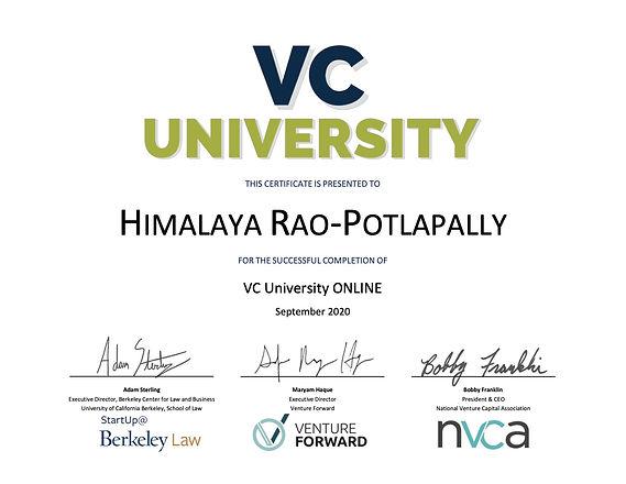 VC University ONLINE_September 2020_Rao-