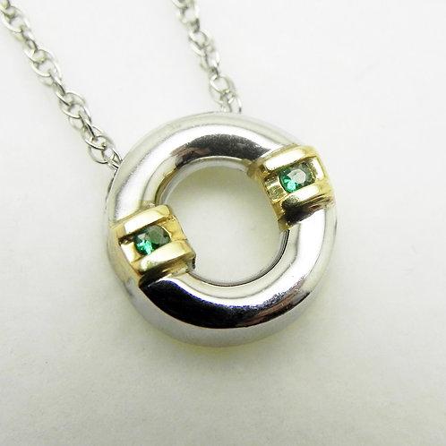14k 2-Tone Emerald Pendant