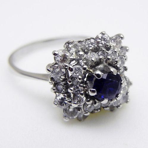 14k Sapphire & Diamond Dinner Ring [VINTAGE]