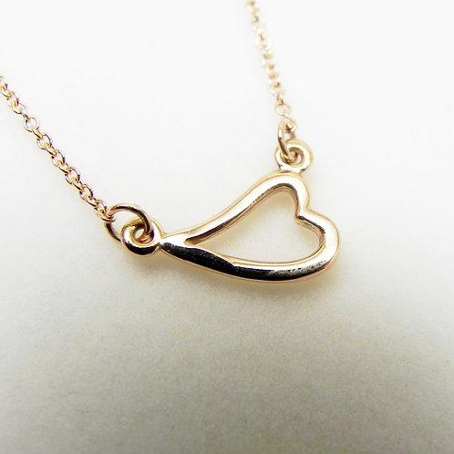 14k Petite Heart Station Necklace