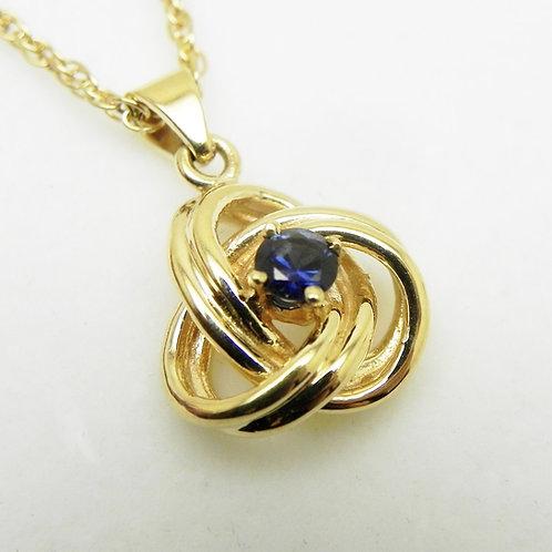14k Sapphire Knot Pendant