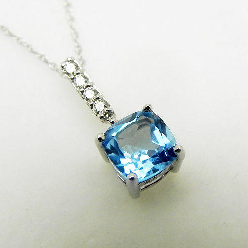 14k Blue Topaz and Diamond Pendant
