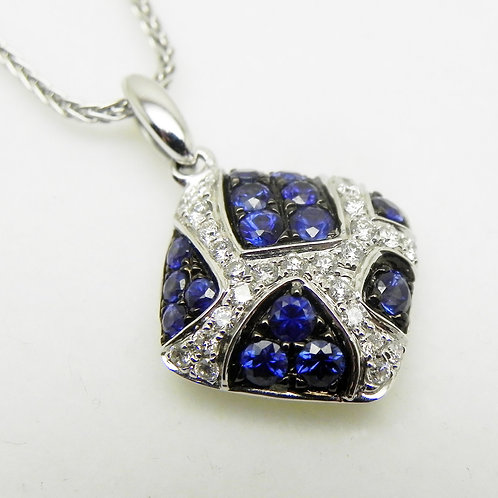 14k Sapphire and Diamond Square Pendant