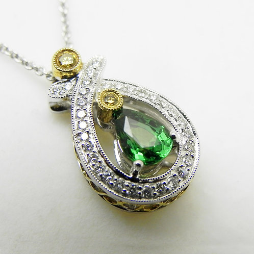 18k Tsavorite Garnet and Diamond Pendant
