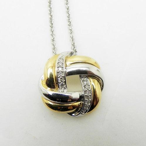 14k 2-Tone Diamond Pendant