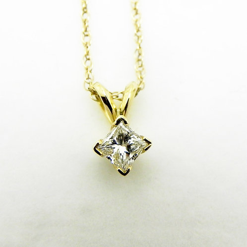 14k Diamond Solitaire Pendant