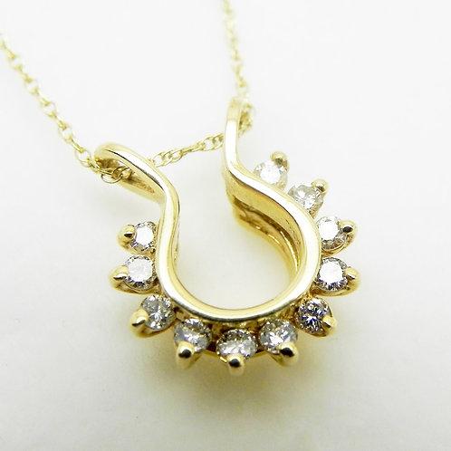 14k Diamond Horseshoe Pendant
