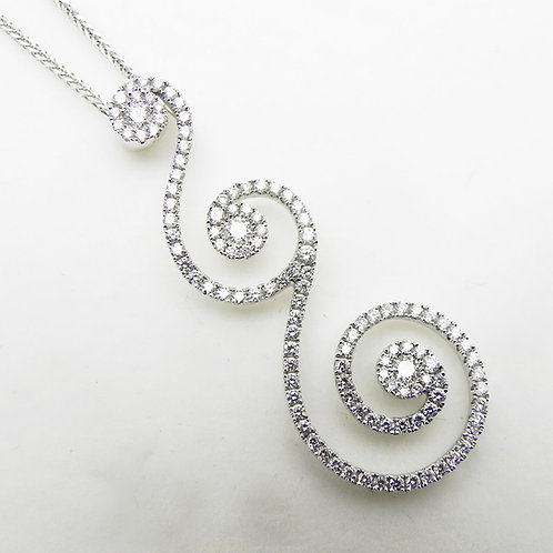 18k Diamond Swirl Pendant