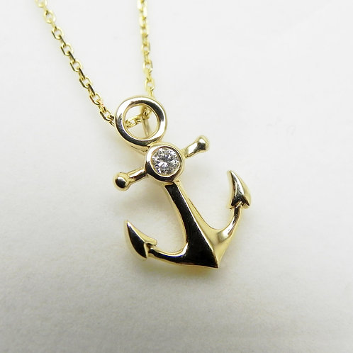 14k Petite Anchor Pendant