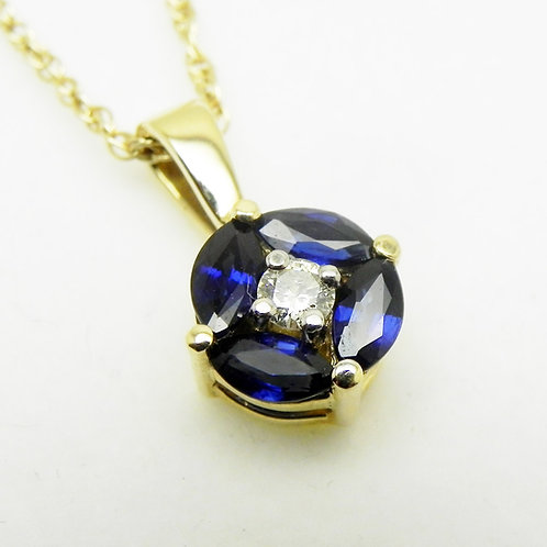 14k Sapphire and Diamond Cluster Pendant