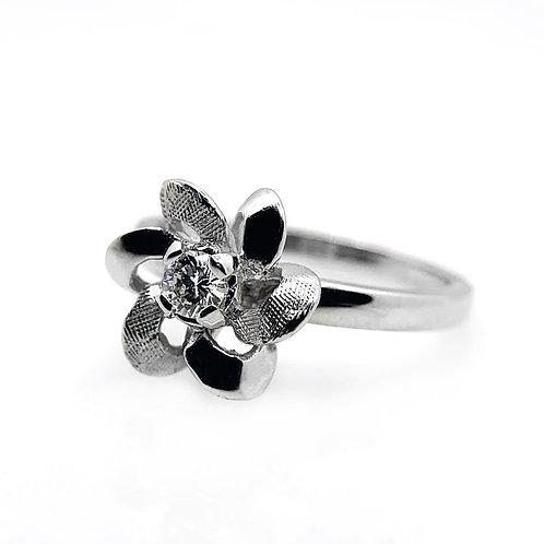 14k Diamond Flower Engagement Ring