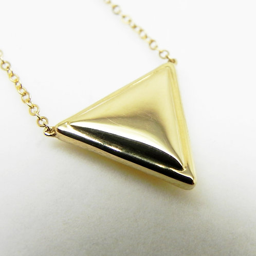 14k Puffed Triangle Necklace