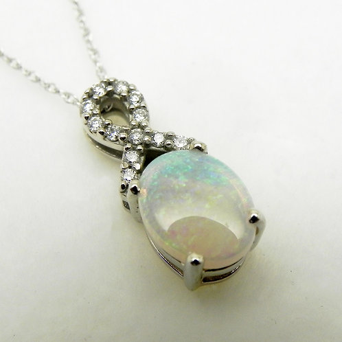 14k Australian Opal and Diamond Pendant