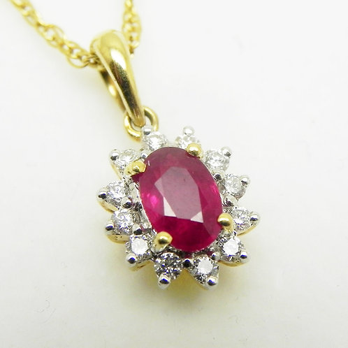 18k Ruby and Diamond Halo Pendant