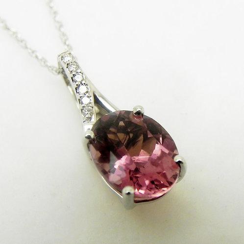 14k Pink Tourmaline and Diamond Pendant