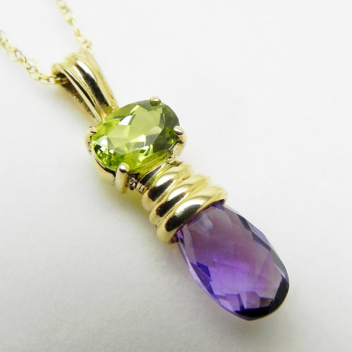 14k Peridot and Amethyst Pendant