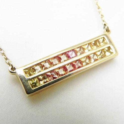 14k Gradient Sapphire Bar Necklace