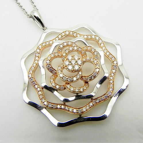 14k Diamond Rose Pendant