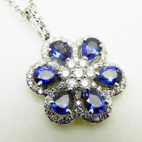 14k Sapphire and Diamond Flower Pendant