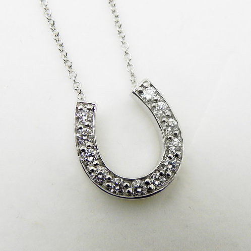 14k Diamond Horseshoe Pendant