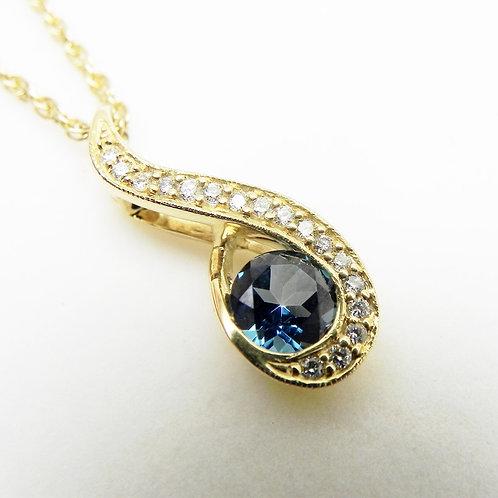 14k Blue Topaz and Diamond Pendant