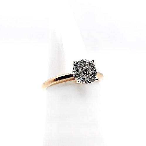 14k .35cttw Cluster Diamond Engagement Ring