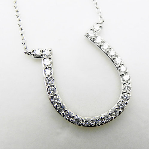 14k Large Diamond Horseshoe Pendant