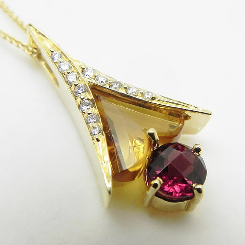 14k Garnet, Citrine, and Diamond Pendant