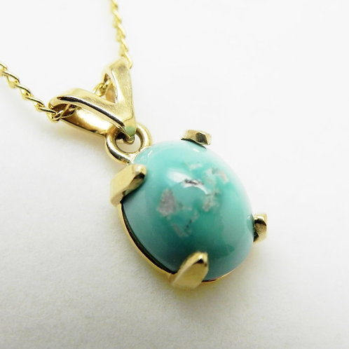14k Natural Turquoise Pendant